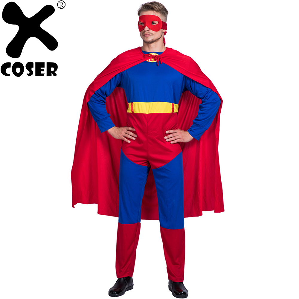 XCOSER Superman Cloak Stage Performance Cosplay Costume 2018 Halloween Christmas Holiday Party Cosplay Costumes Set For Men