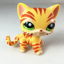 pet shop New Cat #1451 Orange & Yellow Striped Tiger Kitty Cat Child Loose Cute Figure Toys