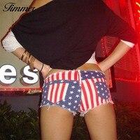2016 Padrão Baixo Calça Jeans Mulher Mulheres Novo Bandeira Americana Ultra-curto Shorts Jeans Feminino Super Sexy Ultra-low-cintura-shorts Único