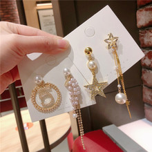 Korea Handmade Anti-allergy Asymmetry Star Pearl Women Drop Earrings Dangle Fashion Jewelry Accessories-QQD5