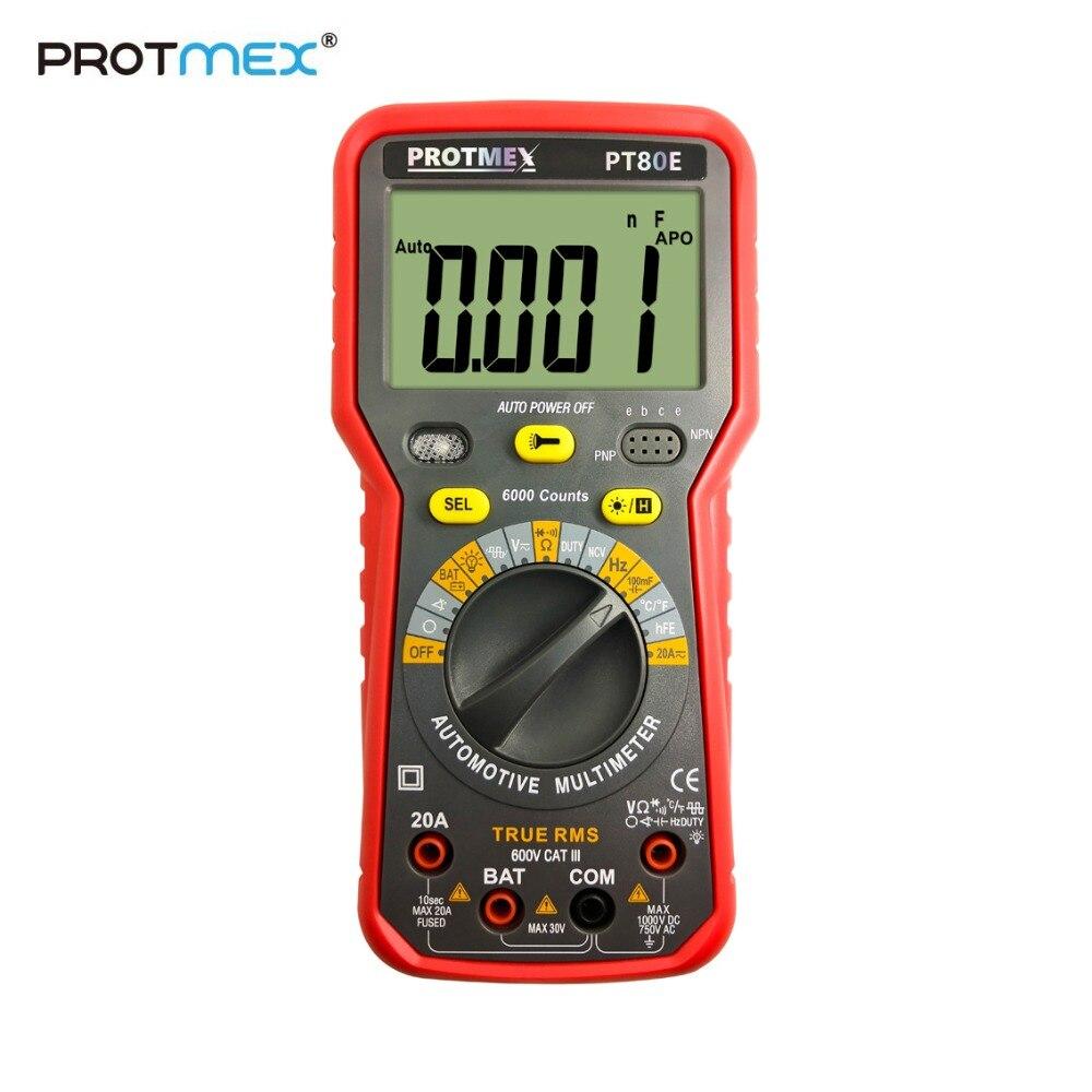 Protmex PT80B/80E 6000 Counts Digital Auto/Manual Car Tester Multimeter DC/AC  Voltage, Current,, Resistance, Capacitance TesterProtmex PT80B/80E 6000 Counts Digital Auto/Manual Car Tester Multimeter DC/AC  Voltage, Current,, Resistance, Capacitance Tester