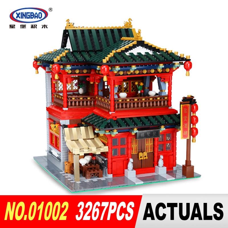 Xingbao 01002 3267Pcs MOC Creative Series The Beautiful Tavern Set Children Educational Building Blocks Bricks Toys Model Gifts lizard сандали posh moc 38 sand