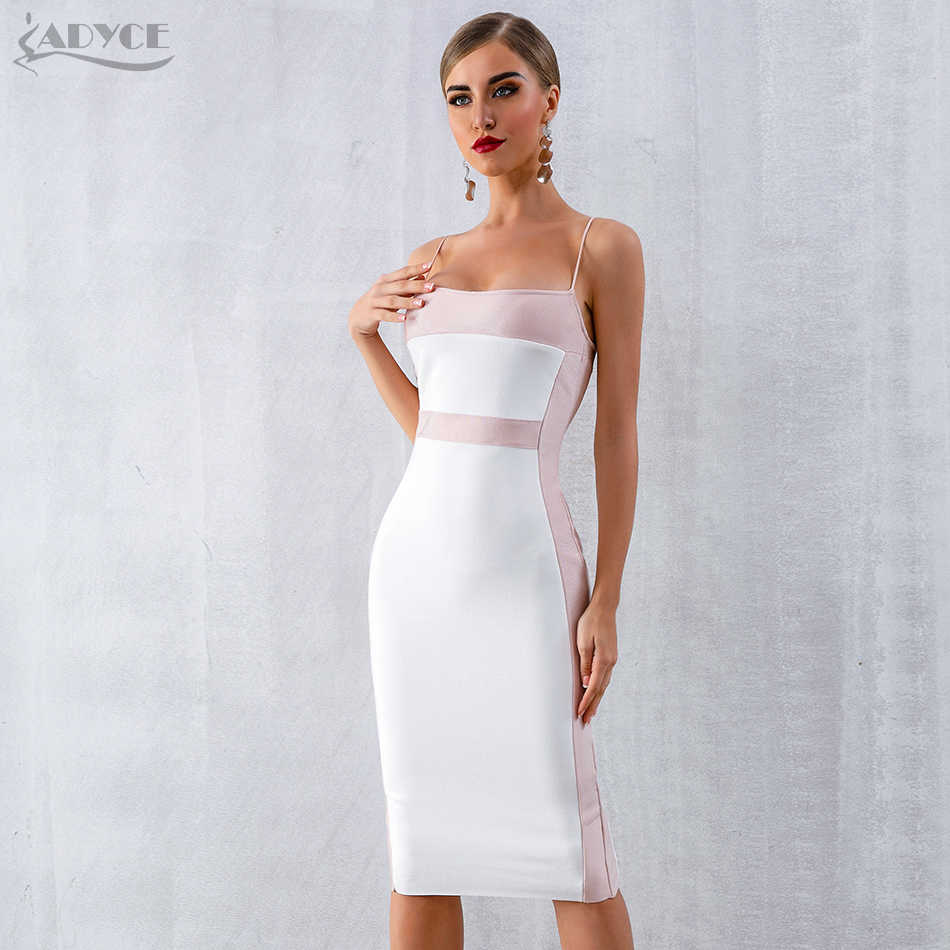 5a0643947 Adyce 2019 New Summer Bandage Dress Women Vestidos Sexy Bodycon Spaghetti  Strap Sleeveless Midi Club Dress