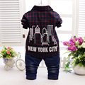 2016 new children clothing set red green plaid shirts+jeans baby boys clothes bebe clothes set