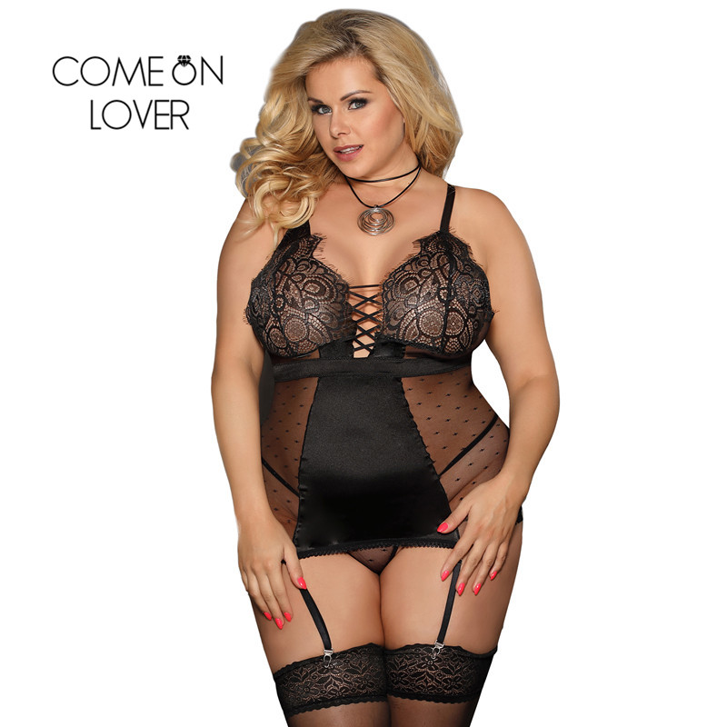 Comeonlover Nuisette Sexy Baby doll Lenceria Satin Lace Stitching Sexy Dress Erotic Sexy Dessous Women Sexy Lingerie Hot RI80650