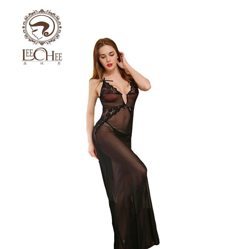 44627d05d94d Leechee Q765 mujeres sexy Lencería bata encaje vestido lenceria perspectiva  sexual Peignoir ropa ...