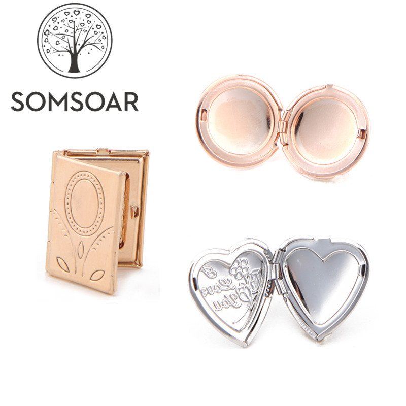 Somsoar Jewelry personalized customization Photo Slide Charms round heart square can stick Kids/family/Lover's Photo on it