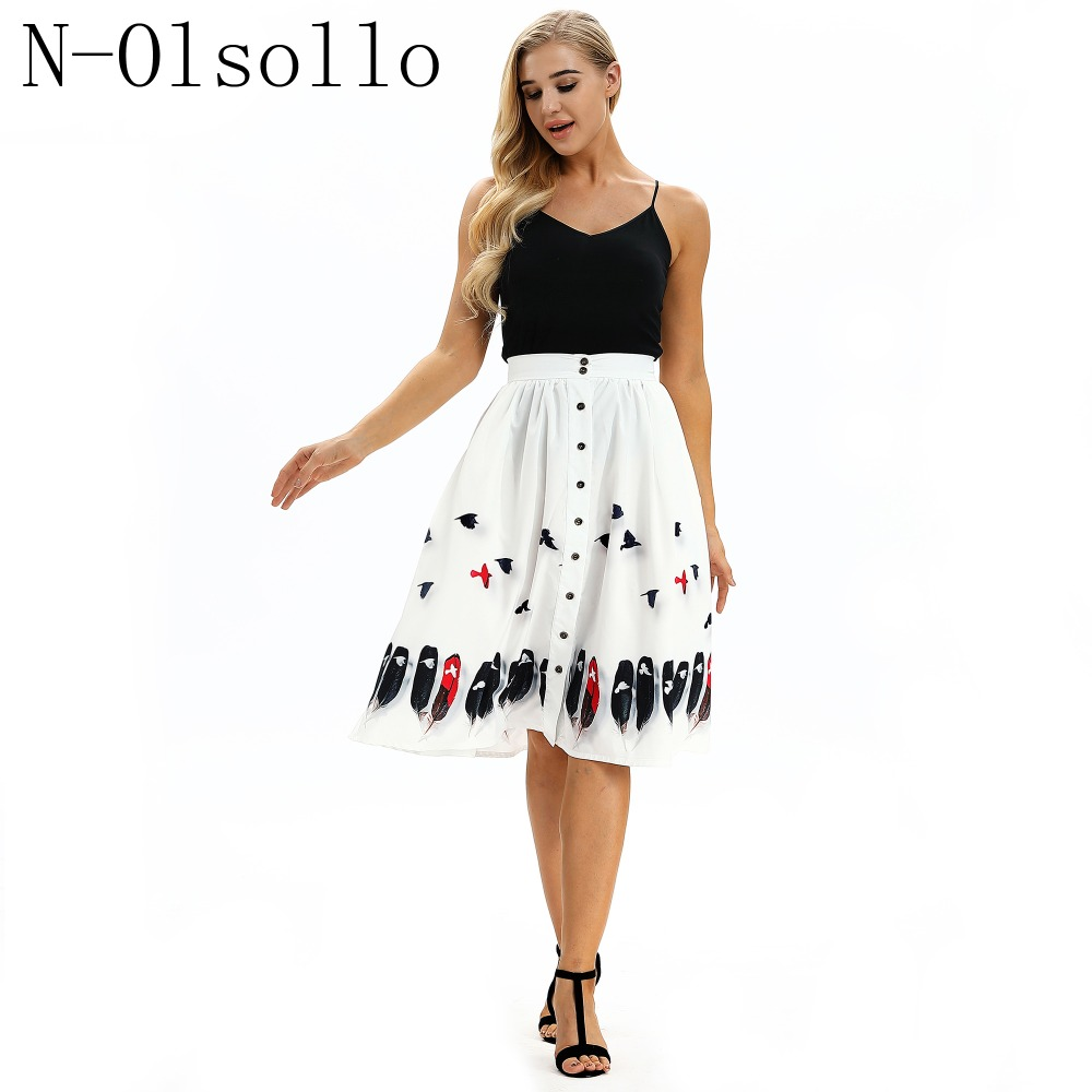N olsollo Colorful Birds Feather Print Women Skirts New 2018 Summer Styles  Boho Clothes Midi Pleated Skirts Button Novelty Skirt-in Skirts from Women s  ... 1bd08b5d6356