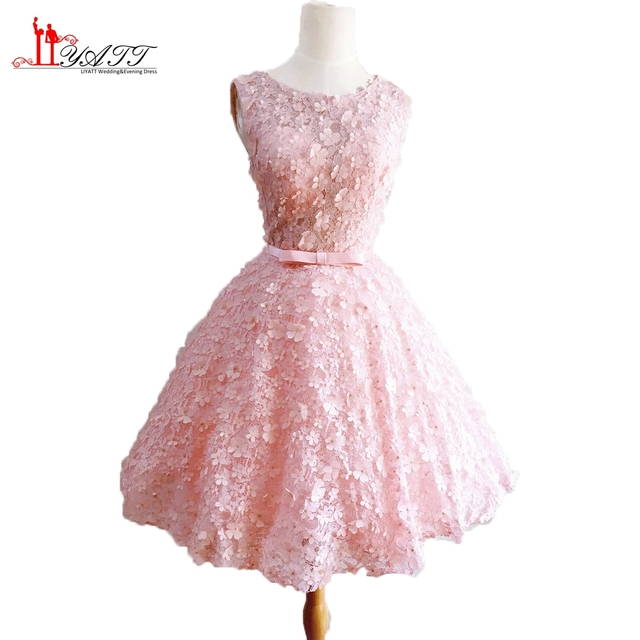 d8e8e41c13 Vestido de festa Vestidos de Fiesta Cortos 2017 Nuevo Rosa de Encaje Prom  Vestidos Sin Mangas