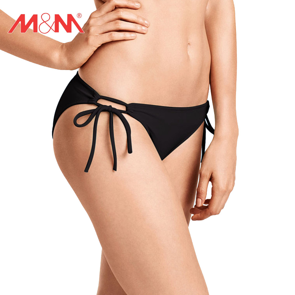 4d152a51e7 M M Bikini Bottom Tie Side Women 2016 Summer Solid Strappy Swim Wear Swim  Pants Low Waist
