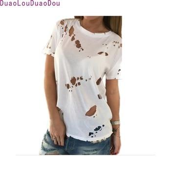 2017 Summer Holes T Shirt Women Fashion Sexy Black White Cotton Short Sleeve Ripped Tops Shirts Casual Loose T-Shirt S-XL como rasgar uma camiseta feminina