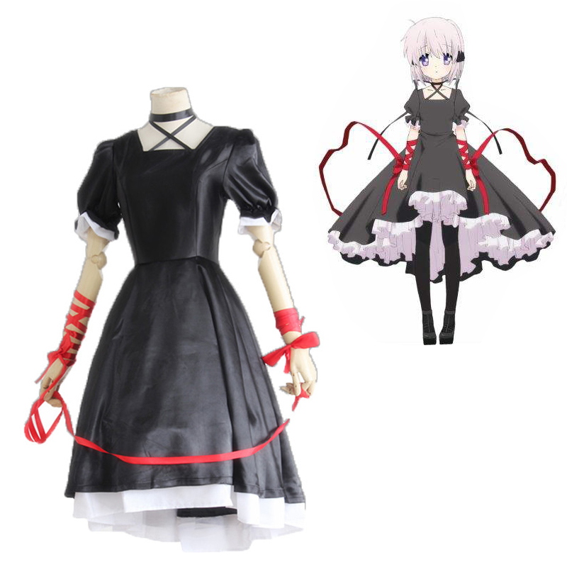 Anime Rewrite Cosplay Black Maid Dress For Women Black Halloween