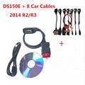 Mejor Vci 2014R2/R3 + Keygen TCS CDP Pro DS150E herramienta de diagnóstico Del Coche para Auto-ocom Coches OBD2 Escáner para Delphis Completa 8 coches cables