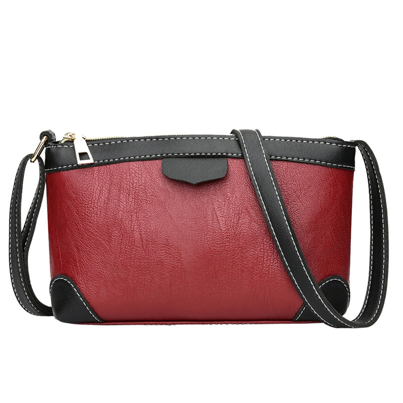 2018 New Brand Womens Vintage Leather Crossbody Bag Ladies Thread Patchwork Shoulder Bags Zipper Messenger Bag bolsa feminina S