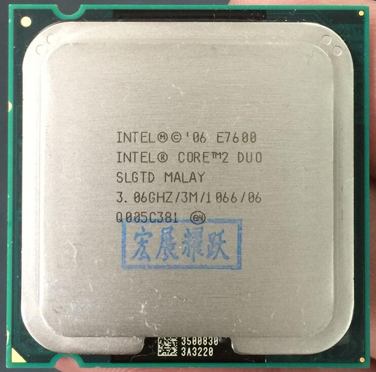 E7600 Free Shipping Desktop Intel Core 2 Duo E7600 3.06GHz 3MB/1066MHz For LGA 775 scrattered pieces 100% new cpu t7250 sla49 2 0g 2m 800 official version scrattered pieces free shipping