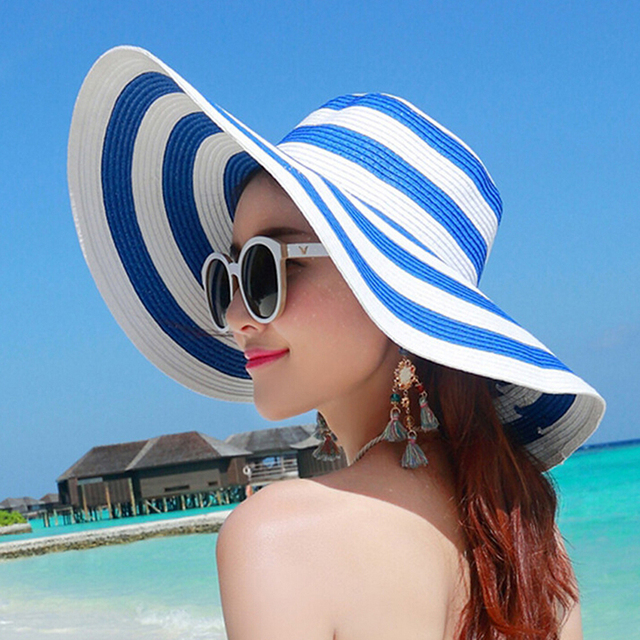 fd96aafe9b4 2017 Sun Hat New Brand Folding Black   White Striped Hat Women Retro Vacation  Summer Beach Wide Hat HO890368