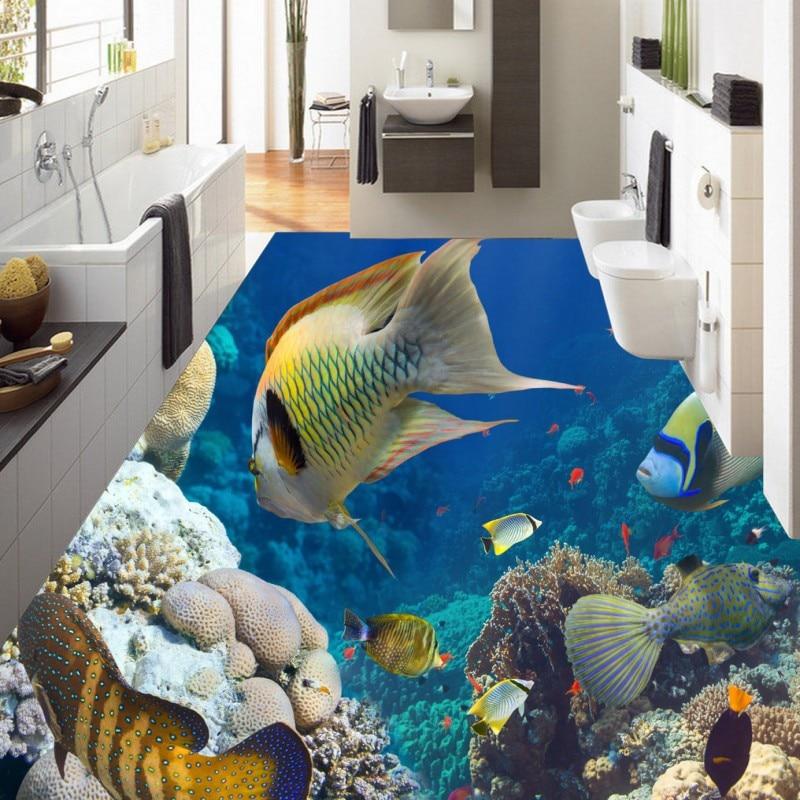 ФОТО Free Shipping Underwater world beautiful HD floor lobby non-slip thickened bedroom bathroom living room study flooring mural