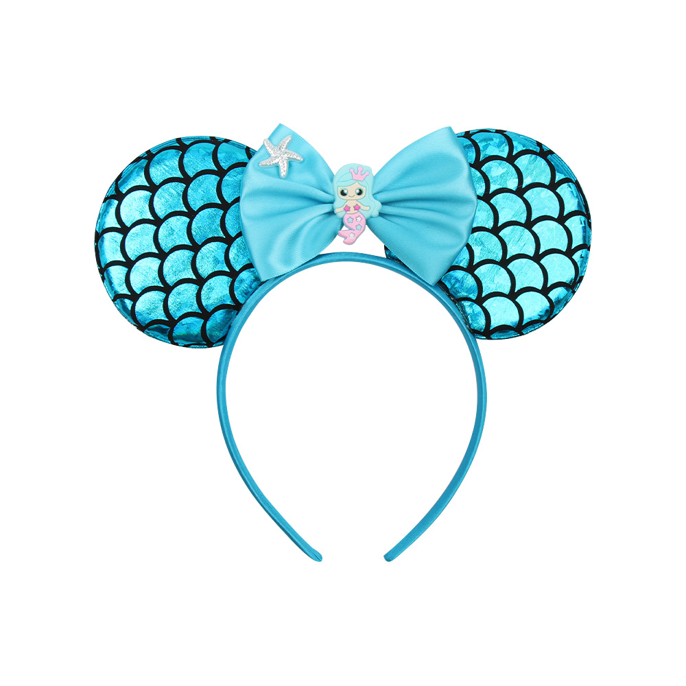 ncmama 2019 Cartoon Mouse Ears Hairband for Girls Cute Mermaid Bow Satin Headbands Festival Hair Hoop Kids Hair Accessories in Hair Accessories from Mother Kids
