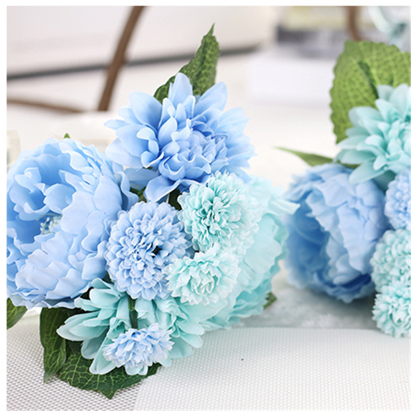 Purple Blue Colors Dahlia Artificial Flowers Wedding Bouquet Bridal Bouquets Fake Flower Home Decoration In Dried From