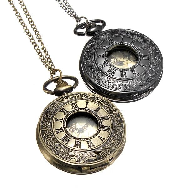 New Antique Bronze Roma Number PocketWatch Vintage Alloy Steampunk Bronze Neckla
