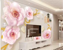 beibehang Three-dimensional interior wallpaper embossed jewelry roses home and rich TV background wall papers decor behang