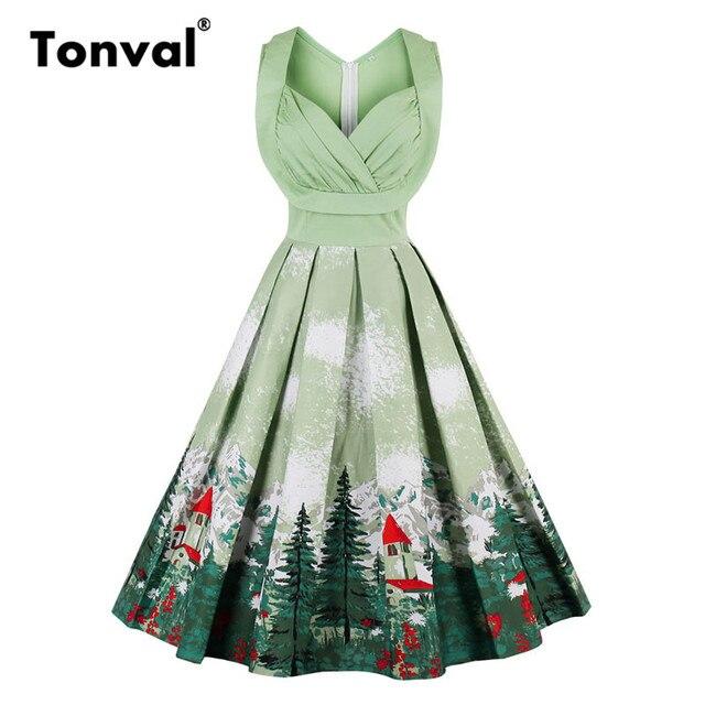 d7bb037857aae9 Tonval Vintage Plissee Grün Kleid Berg Druck Weihnachten Party Frauen Midi  Kleid V-ausschnitt Sexy