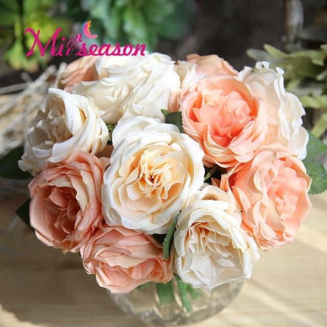 Miiseason 6 pcs set Buatan Rose Camellia Bridal Bridesmaid Wedding Bouquet  Memegang Bunga Sutra Rumah facd9bb7d1