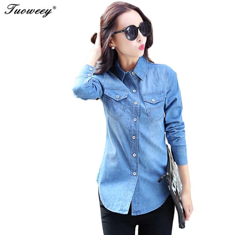 b78b04e24e8 Подробнее Обратная связь Вопросы о Для женщин рубашка из джинсовой  хлопковой ткани 2019 сорочка женские весенние женские Повседневное с  длинным рукавом ...
