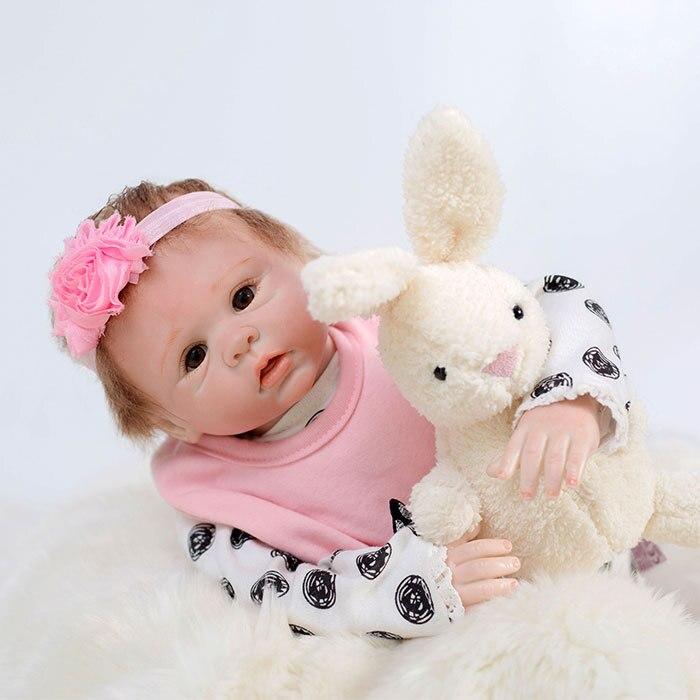 silicone reborn baby dolls girls 45cm pink black clothes vinyl children play house toys bebe Xmas gift boneca Kids Brinquedos