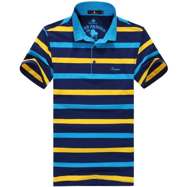 Camisa de Polo a rayas de Los Hombres Calientes de Moda de verano 2016 camisa de Polo de manga corta POLO solapa hombre ocasional de los hombres abrigo 5XL. 6XL