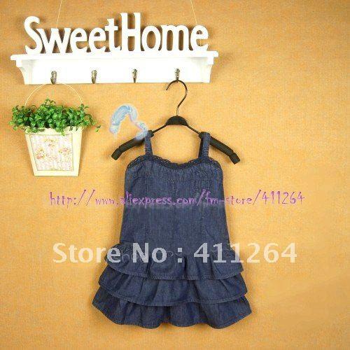 1c8306104e 4pcs lot(2 7Y) wholesale za kids dress denim tiered dress za girls ...