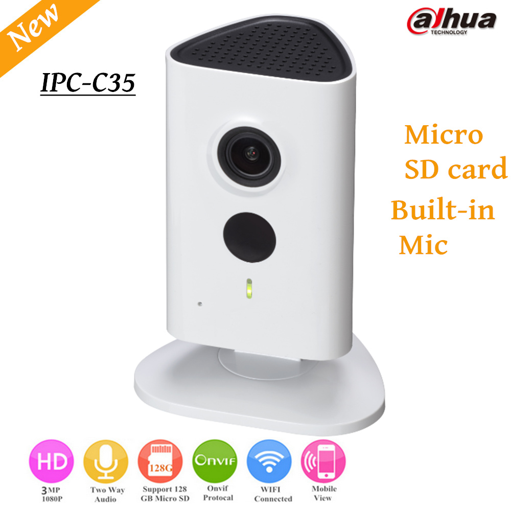 Newest Dahua 3mp Wifi IP Camera IPC-C35 HD 1080p Security Camera Support SD card up to 128GB built-in Mic English version