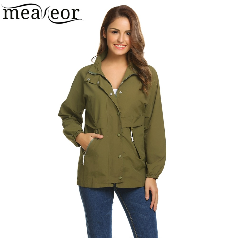 Meaneor Women Casual Raincoat Waterproof Jacket Fashion Stand Collar Long Sleeve Solid Jackets with Pocket Loose Coats Outwear