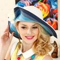 Queen Hat Blue Summer Wide Brim Sun Hats Women Straw Hats Beach Uv Caps Sent Handbag