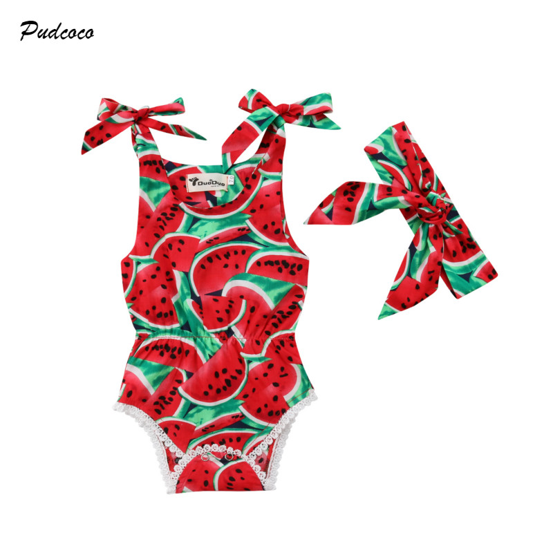 3-24M Newborn Baby Girl Watermelon Clothes Sleeveless Strap Lace Romper Jumpsuit Headband 2PCS Outfits Summer Clothes
