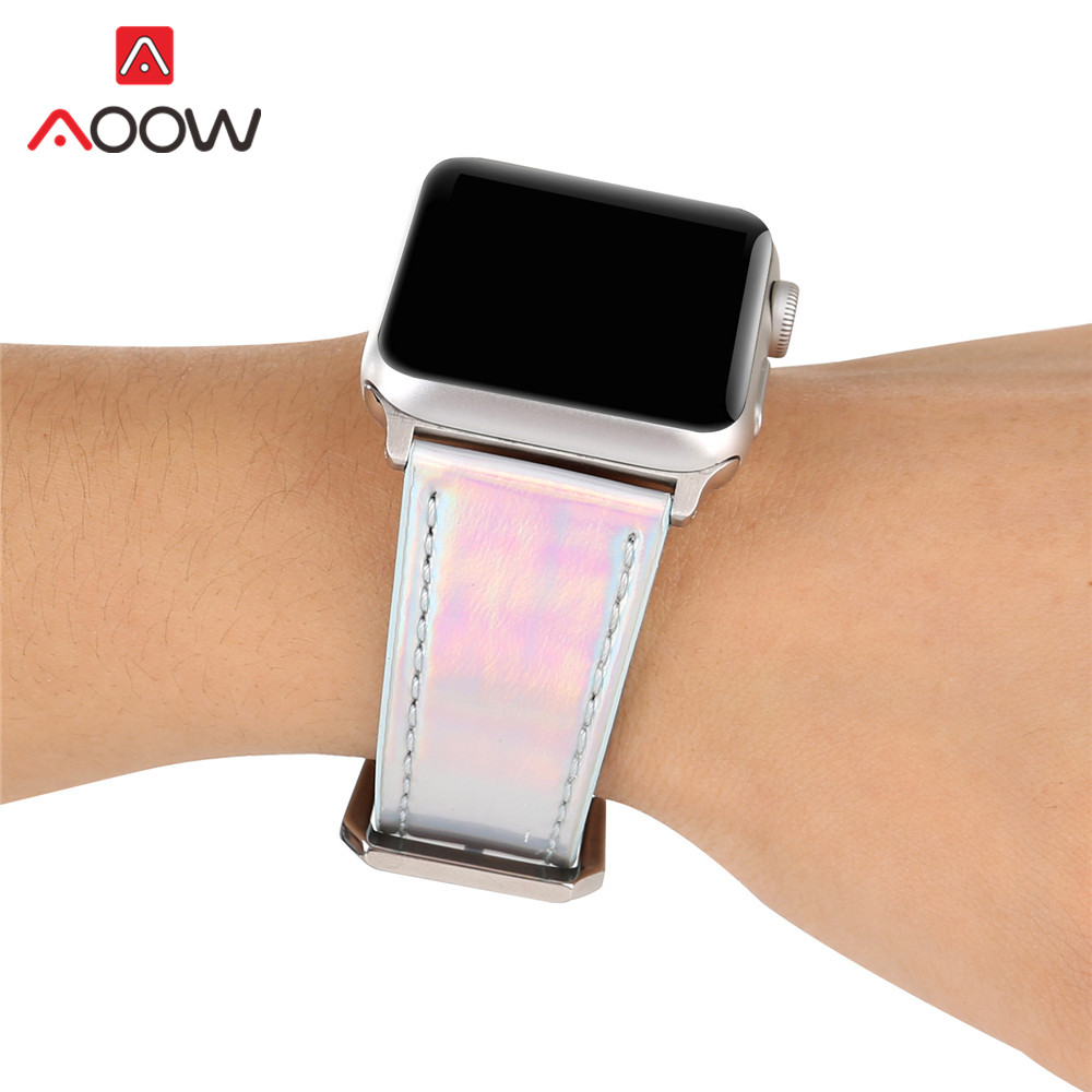 Fashion Discolor Leather Watchband For Apple Watch Iwatch 4 40mm 44mm 38mm 42mm Laser Men Women Replacement Bracelet Strap Band