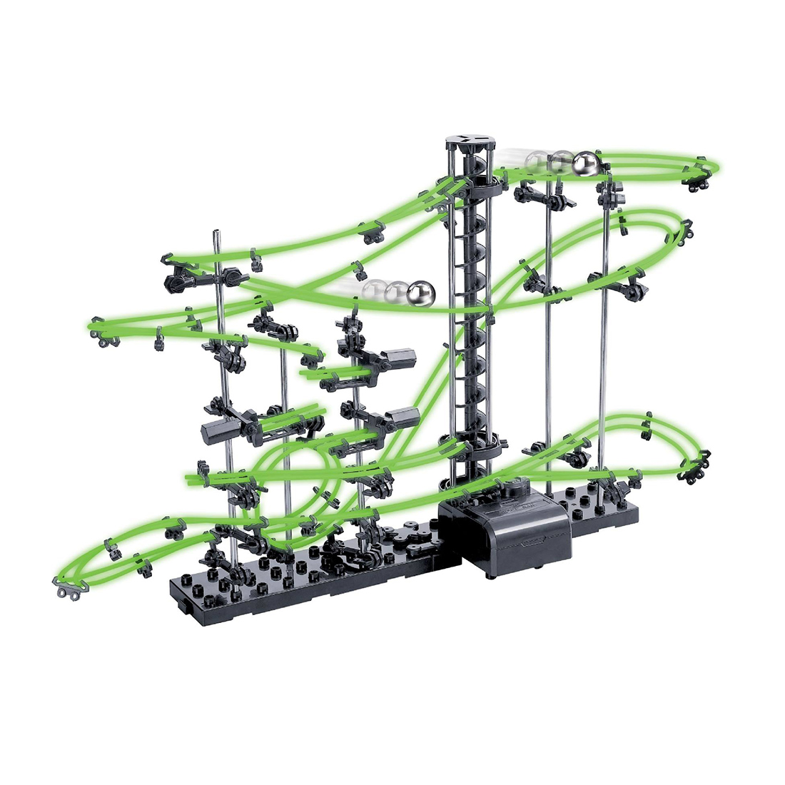 ФОТО DIY Educational Toys Spacerail Level 2 Glow In The Dark Marble Roller Coaster Space Rail Steel Balls 10000mm Building Kit Gift
