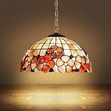 Tiffany Mediterranean Sea style natural shell lampshade pendant lights LED lamparas colgantes lustre vintage lamp hanging lamps