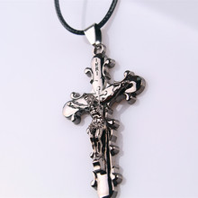 HC Hot Sale Trendy Men Jewelry Jesus Cross Pendant Men Necklace Metal Statement Silver Brass Gun Black Necklace Dropshipping F