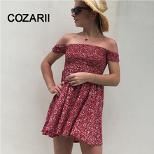 COZARII Ne Sexy Strapless Off the Shoulder A-Line dress Vestidos Women Summer Short Sleeves  princess Party Dresses