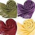 Mulheres do Envoltório do Lenço Roubou Mistura De Lã Multicolor Quente Suave Cachecóis Borlas Xale