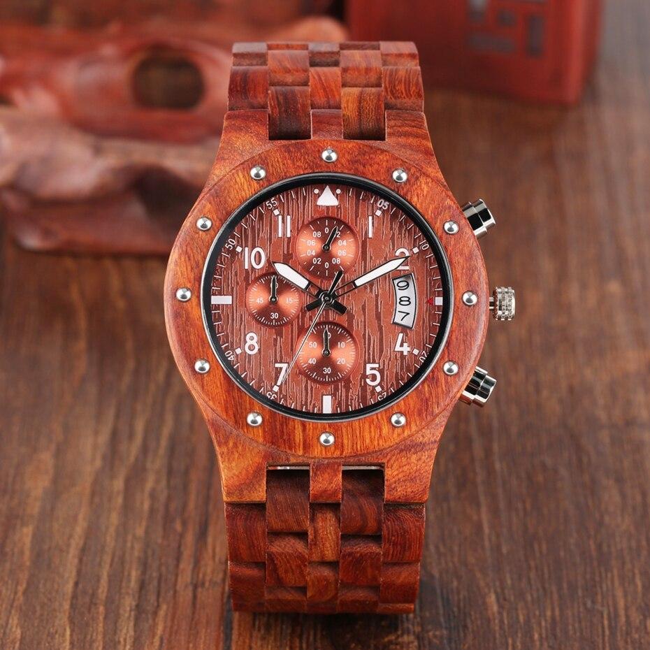 Wooden Watch Men erkek kol saati Top Luxury Stylish Redwood Timepieces Chronograph Military Date Calendar Quartz Watches for Men 2019 2020 2021 2022 (19)