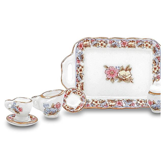 Doll House Miniature Kitchen Porcelain Teapot 8 Set