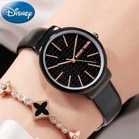 Genuine Disney Mickey Women's Leather Band Japan Quartz Wrist Watches Women Analog Buckle Steel Back Waterproof Watch Girl Time