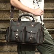 Fashion Men's Briefcase Crazy Horse Genuine Leather Briefcases Business Men Luxury Brand Bag Cowhide Leather Laptop Computer Bag
