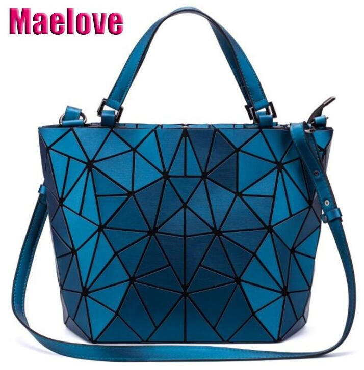 4d3ac35fe216 Maelove Matte Color Geometric bag Women Handbag Geometry Diamond Shopping Bag  Laser Plain Folding Tote bag