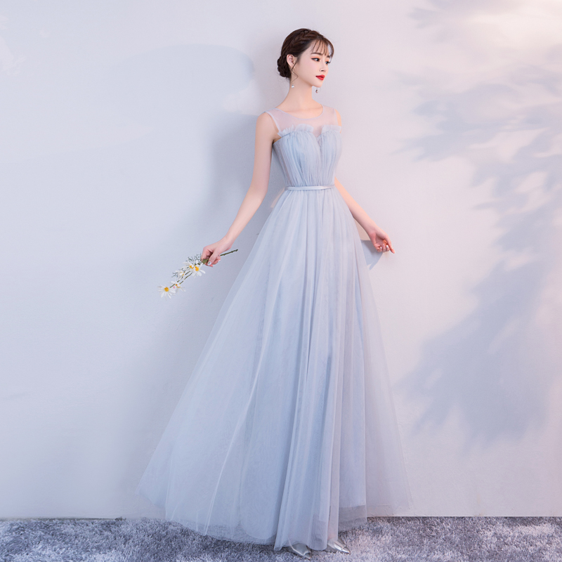 Blue Grey Colour Bridesmaid Dresses  Elegant Dress Women For Wedding Party  Sleeveless  Empire Back Of Bandage  Sexy Prom Dress