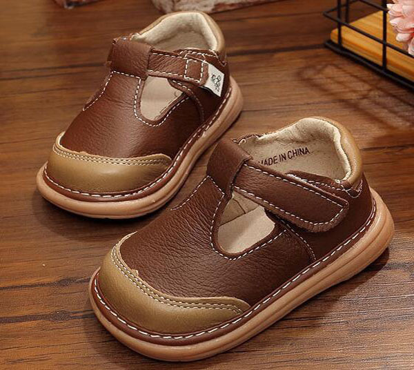 Little Boys Leather Shoes T-strap Brown Kids Shoes Handmade Spring Summer Shoes Solid Color Menino Zapatos Baby Boys Shoes Soft