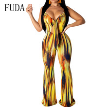FUDA Temperament Womens Print Irregular Striped Jumpsuits Sexy Hollow Out Sleeveless Loose Playsuits Female Summer Body Femme