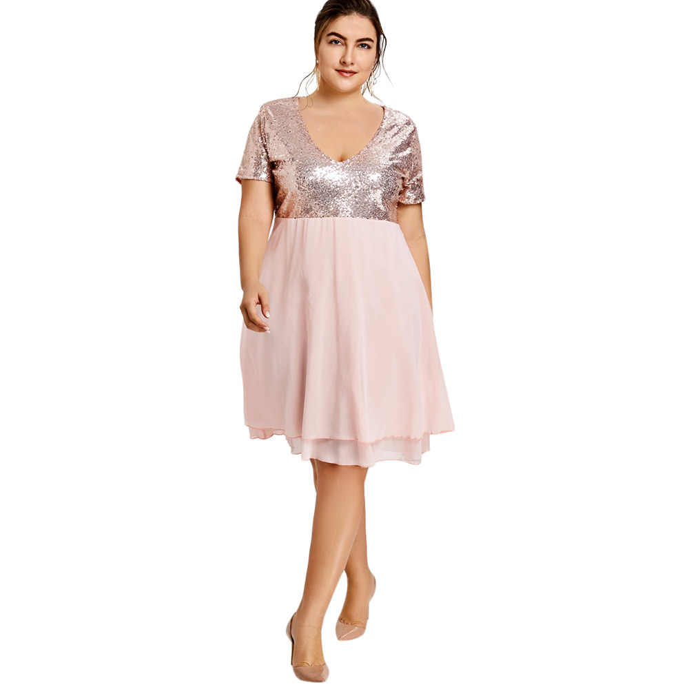 e9283ac992 Gamiss Women Elegant Party Dress Plus Size 5XL Glitter Sequin Home coming  Sexy V-Neck Short Sleeves Ladies Dresses Vestidos